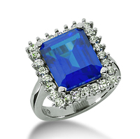 14k White Gold Emerald 12x10 Blue Sapphire and 3/4 Carat Diamond Lady Di - Princess Diana Style Ring
