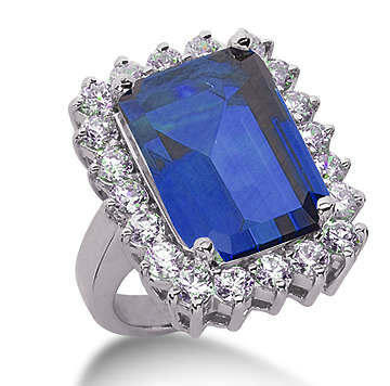 14k White Gold Emerald 14x12 Blue Sapphire and 1 1/4 Carat Diamond Lady Di - Princess Diana Style Ring