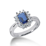 14k White Gold Emerald 7x5 Blue Sapphire and 3/5 Carat Diamond Lady Di - Princess Diana Style Ring