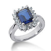 14k White Gold Emerald 10x8 Blue Sapphire and 1 Carat Diamond Lady Di - Princess Diana Style Ring