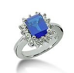 14k White Gold Emerald 8x6 Blue Sapphire and 3/4 Carat Diamond Lady Di - Princess Diana Style Ring