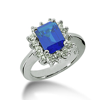 14k White Gold Emerald 9x7 Blue Sapphire and 3/4 Carat Diamond Lady Di - Princess Diana Style Ring