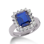 14k White Gold Emerald 9x7 Blue Sapphire and 1 1/4 Carat Diamond Lady Di - Princess Diana Style Ring