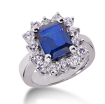 14k White Gold Emerald 10x8 Blue Sapphire and 1 1/2 Carat Diamond Lady Di - Princess Diana Style Ring