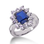 14k White Gold Emerald 9x7 Blue Sapphire and 1 3/4 Carat Diamond Lady Di - Princess Diana Style Ring