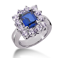 14k White Gold Emerald 10x8 Blue Sapphire and 1 3/4 Carat Diamond Lady Di - Princess Diana Style Ring