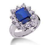 14k White Gold Emerald 12x10 Blue Sapphire and 2 Carat Diamond Lady Di - Princess Diana Style Ring