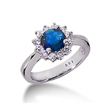 14k White Gold Round 1/4 Carat Blue Sapphire and 1/4 Carat Diamond Lady Di - Princess Diana Style Ring