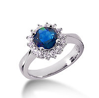 14k White Gold Round 1/3 Carat Blue Sapphire and 1/3 Carat Diamond Lady Di - Princess Diana Style Ring
