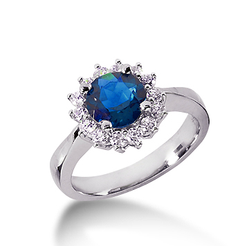 14k White Gold Round 1/2 Carat Blue Sapphire and 1/3 Carat Diamond Lady Di - Princess Diana Style Ring