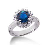 14k White Gold Round 2/3 Carat Blue Sapphire and 1/3 Carat Diamond Lady Di - Princess Diana Style Ring