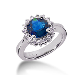 14k White Gold Round 4/5 Carat Blue Sapphire and 1/3 Carat Diamond Lady Di - Princess Diana Style Ring