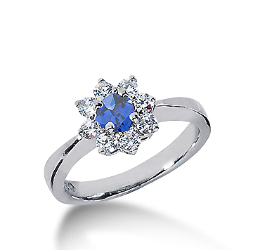 14k White Gold Round 1 Carat Blue Sapphire and 1/3 Carat Diamond Lady Di - Princess Diana Style Ring