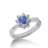 14k White Gold Round 1 1/4 Carat Blue Sapphire and 1/2 Carat Diamond Lady Di - Princess Diana Style Ring