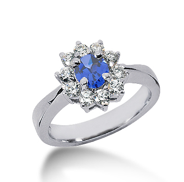 14k White Gold Round 1 1/2 Carat Blue Sapphire and 1/2 Carat Diamond Lady Di - Princess Diana Style Ring