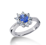14k White Gold Round 2 Carat Blue Sapphire and 1/2 Carat Diamond Lady Di - Princess Diana Style Ring