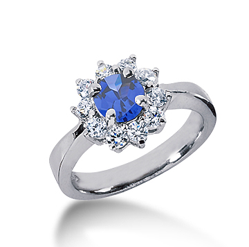 14k White Gold Round 2 1/2 Carat Blue Sapphire and 1/2 Carat Diamond Lady Di - Princess Diana Style Ring