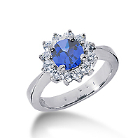 14k White Gold Round 1/4 Carat Blue Sapphire and 1/2 Carat Diamond Lady Di - Princess Diana Style Ring