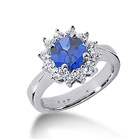 14k White Gold Round 1/3 Carat Blue Sapphire and 1/2 Carat Diamond Lady Di - Princess Diana Style Ring