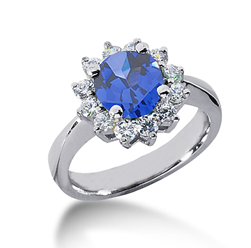 14k White Gold Round 1/2 Carat Blue Sapphire and 1/2 Carat Diamond Lady Di - Princess Diana Style Ring