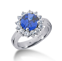 14k White Gold Round 2/3 Carat Blue Sapphire and 1/2 Carat Diamond Lady Di - Princess Diana Style Ring