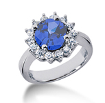 14k White Gold Round 4/5 Carat Blue Sapphire and 1/2 Carat Diamond Lady Di - Princess Diana Style Ring