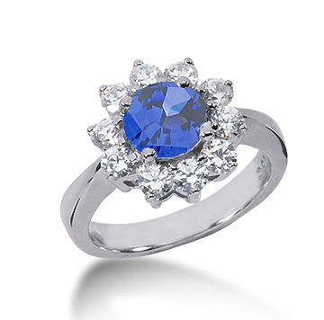 14k White Gold Round 1 Carat Blue Sapphire and 3/5 Carat Diamond Lady Di - Princess Diana Style Ring