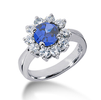 14k White Gold Round 1 1/4 Carat Blue Sapphire and 3/5 Carat Diamond Lady Di - Princess Diana Style Ring