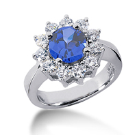 14k White Gold Round 1 1/2 Carat Blue Sapphire and 3/5 Carat Diamond Lady Di - Princess Diana Style Ring