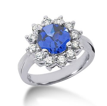 14k White Gold Round 2 Carat Blue Sapphire and 2/3 Carat Diamond Lady Di - Princess Diana Style Ring