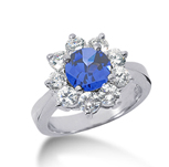 14k White Gold Round 2 1/4 Carat Blue Sapphire and 3/4 Carat Diamond Lady Di - Princess Diana Style Ring