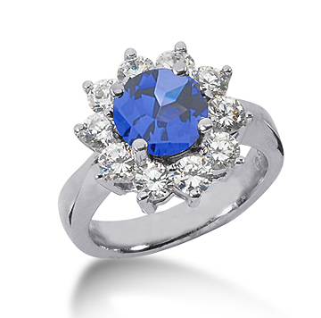 14k White Gold Round 1 1/4 Carat Blue Sapphire and 1 Carat Diamond Lady Di - Princess Diana Style Ring