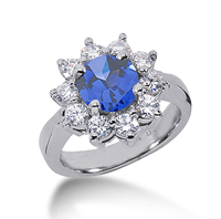14k White Gold Round 1 1/2 Carat Blue Sapphire and 1 Carat Diamond Lady Di - Princess Diana Style Ring