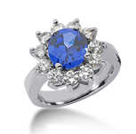 14k White Gold Round 2 Carat Blue Sapphire and 1 Carat Diamond Lady Di - Princess Diana Style Ring