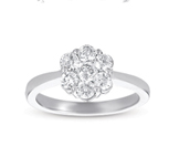 14kt White Gold 3/4 Carat Solitaire Diamond Cluster Ring