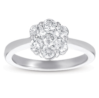 14kt White Gold 1 Carat Solitaire Diamond Cluster Ring