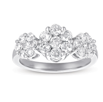 14kt White Gold 2 Carat Three Stone Diamond Cluster Ring