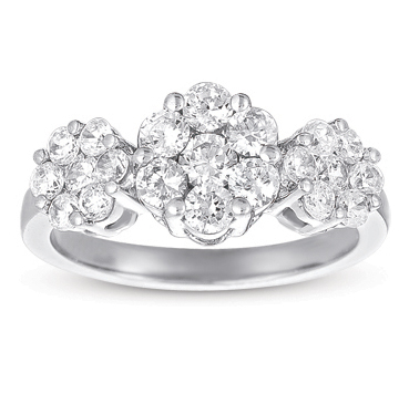 14kt White Gold 3 Carat Three Stone Diamond Cluster Ring