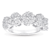 14kt White Gold 2 Carat Five Stone Diamond Cluster Ring
