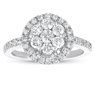 14kt White Gold 1 Carat Halo Diamond Cluster Ring