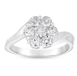 14kt White Gold 1 Carat Solitaire Diamond Cluster Curved Ring