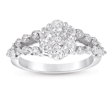 14kt White Gold 1 1/3 Carat Split Shank Diamond Cluster Curved Ring