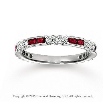 14k White Gold Baguette Ruby 1/2 Carat Diamond Stackable Ring