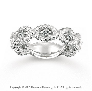14k White Gold Stylish Rope 1/4 Carat Diamond Stackable Ring