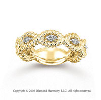 14k Yellow Gold Stylish Rope 1/4 Carat Diamond Stackable Ring