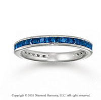 14k White Gold Channel Blue Sapphire Diamond Stackable Ring