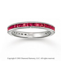 14k White Gold Princess Channel Ruby Stackable Ring