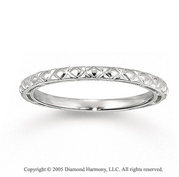 14k White Gold Classic Crisscross Carved Stackable Ring