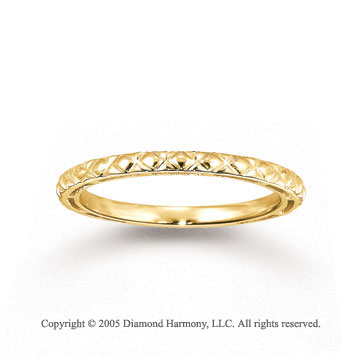 14k Yellow Gold Classic Crisscross Carved Stackable Ring