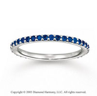 14k White Gold Stylish Prong Blue Sapphire Stackable Ring